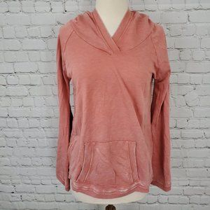 Chaser Cozy Knit Pullover Hoodie Coral M NWT